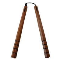 赤樫八角ヌンチャク(スベリ止) 36cm 紐タイプ